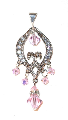 Silver Chandelier Pendant Dangle ROSALINE LIGHT PINK Swarovski Crystal Elements