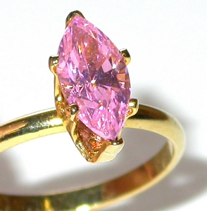 Pink-Ice-Marquise-SOLITAIRE-CZ-RING-14K-Gold-Plated-Cubic-Zirconia