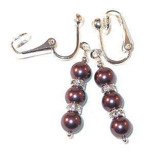 BURGUNDY Pearl Earrings Swarovski Crystal Elements Sterling Silver Dangle Clip-on