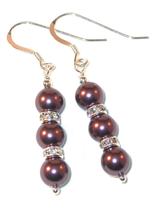 BURGUNDY Pearl Earrings Swarovski Crystal Elements Sterling Silver Dangle